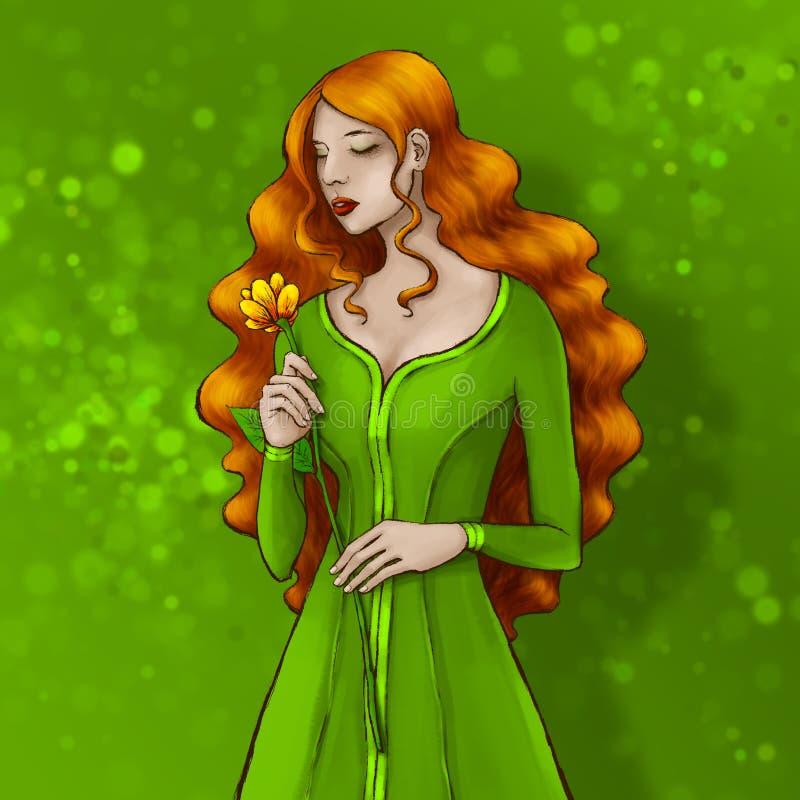 Piękna dama z długą czerwoną włosianą jest ubranym zieleni suknią, odoru złoty kwiat ilustracji