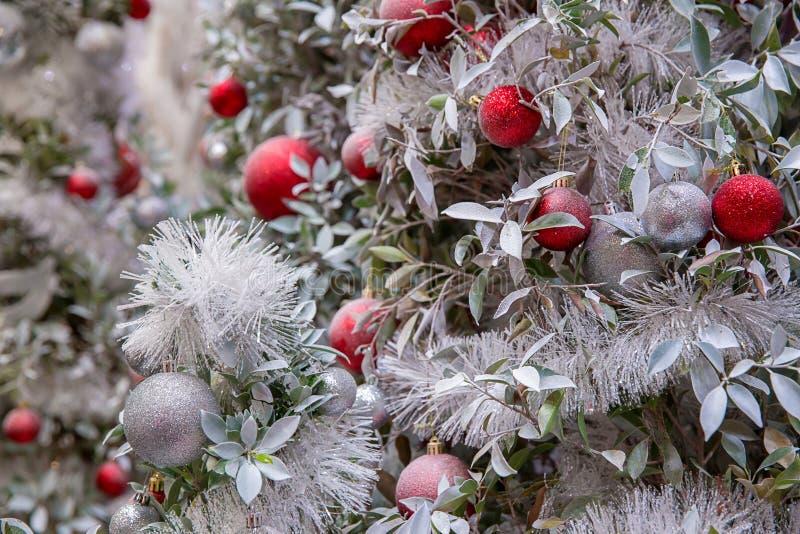 Piękna dekorująca graba i choinka przy chałupą Święta tła balowych ostrego ornamentów białe drzewo zdjęcia stock