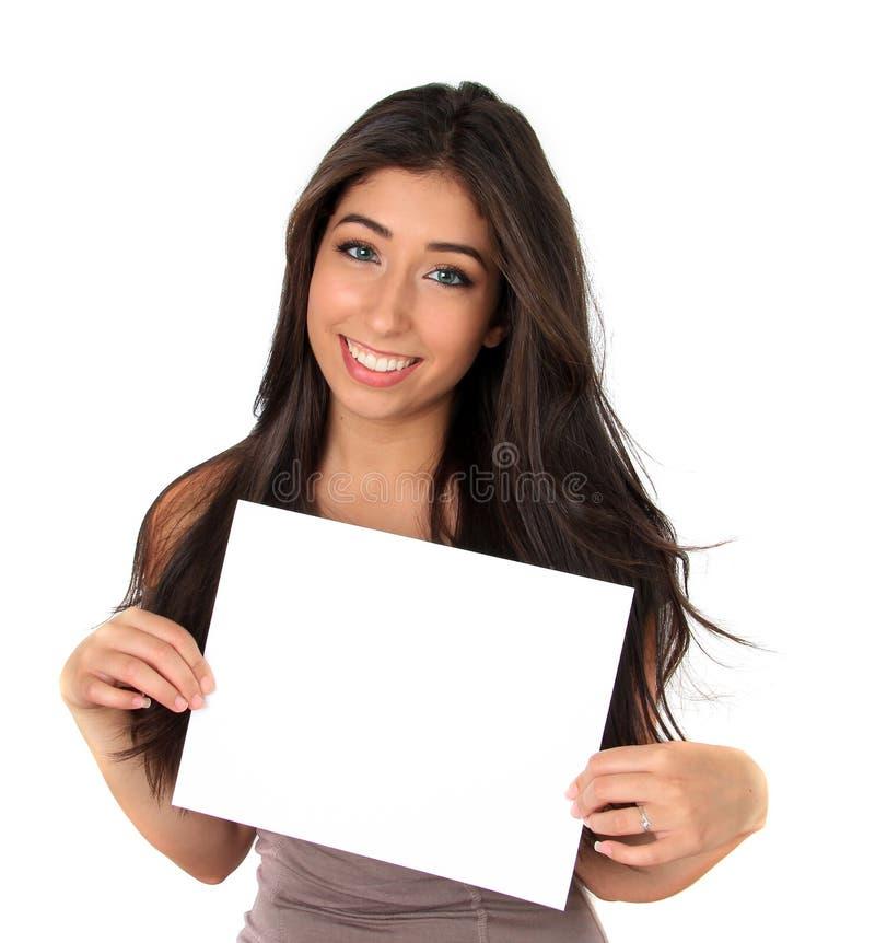 Piękna dziewczyna i znak zdjęcia stock