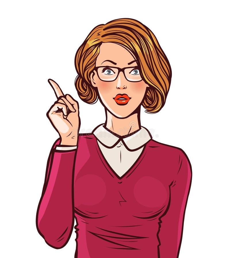 Piękna dziewczyna lub młoda kobieta z palcem wskazującym Szpilka, biznesowy pojęcie Wystrzał sztuki komiczki retro styl Kreskówka ilustracja wektor