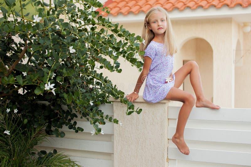 Piękna dziewczyna na żywopłocie fotografia stock