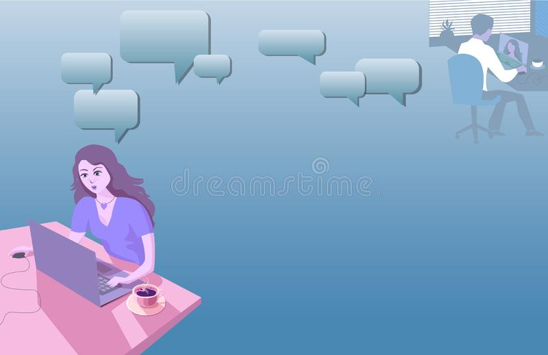 Piękna dziewczyna przy domu stołem komunikuje z jej chłopakiem online Ilustracja w błękitnych zimnych brzmieniach royalty ilustracja