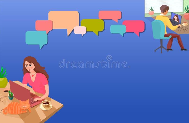Piękna dziewczyna przy domu stołem komunikuje z jej chłopakiem online Ilustracja w błękitnych zimnych brzmieniach ilustracja wektor