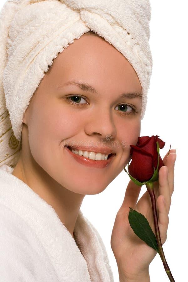 piękna dziewczyna ręcznik prysznic zdjęcia stock