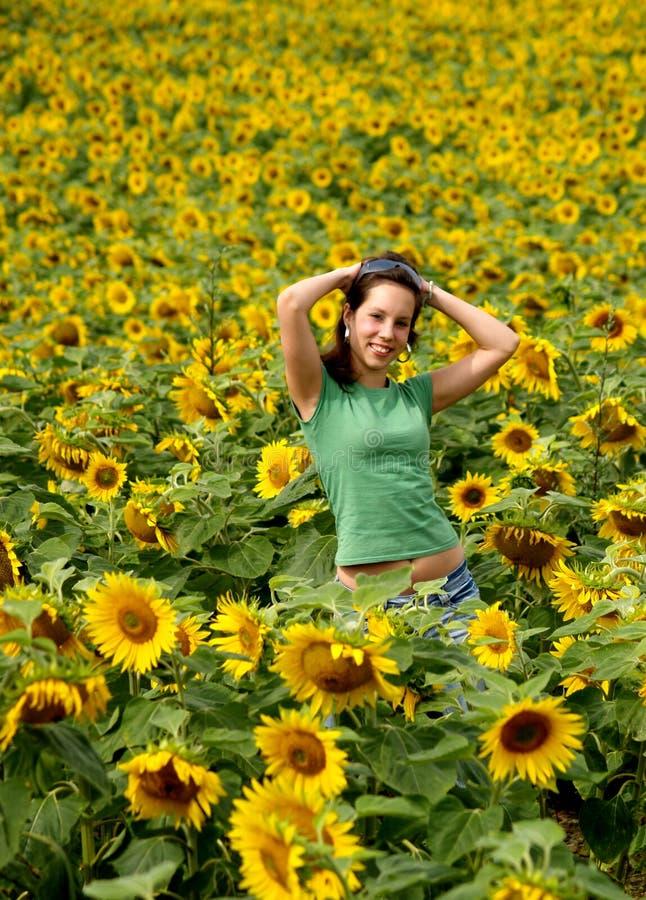 piękna dziewczyna słonecznik obraz royalty free