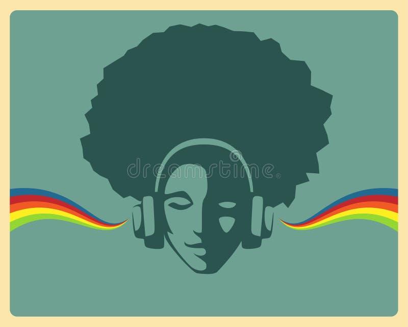 Piękna dziewczyna słucha muzyka od hełmofonów ilustracja wektor