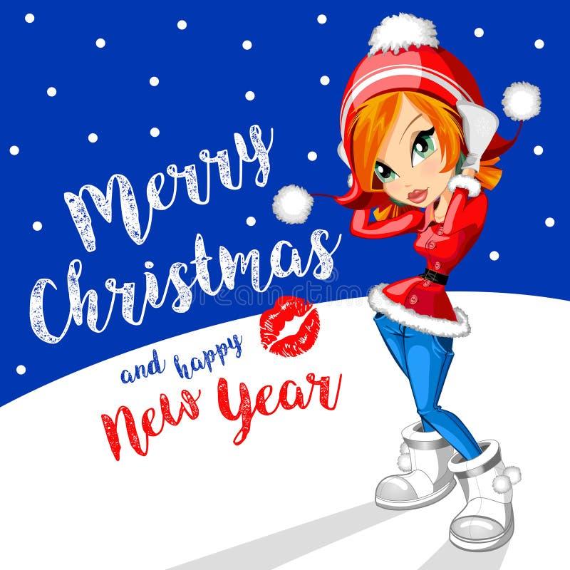 piękna dziewczyna się święta Santa claus Boże Narodzenia i nowego roku tło 2017 ilustracji