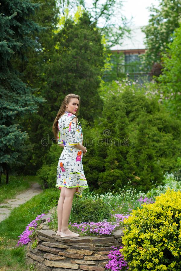 Piękna dziewczyna stoi na kamieniu zdjęcia stock