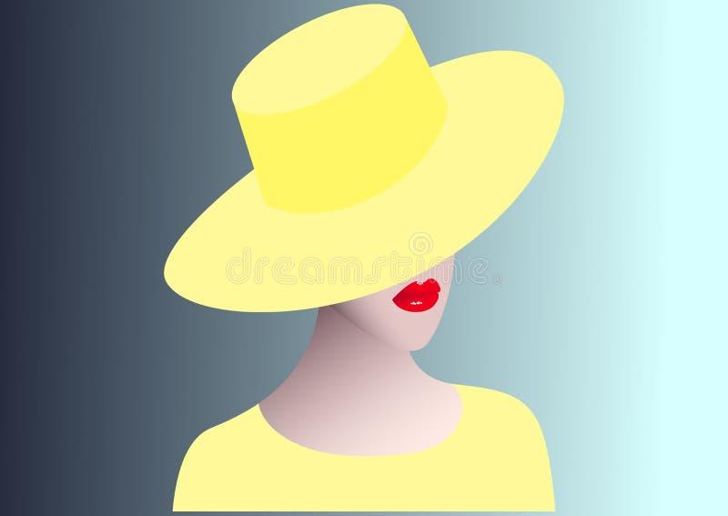 Piękna dziewczyna w żółtym kapeluszu na błękitnym tle Odosobniona wektorowa ilustracja ilustracji