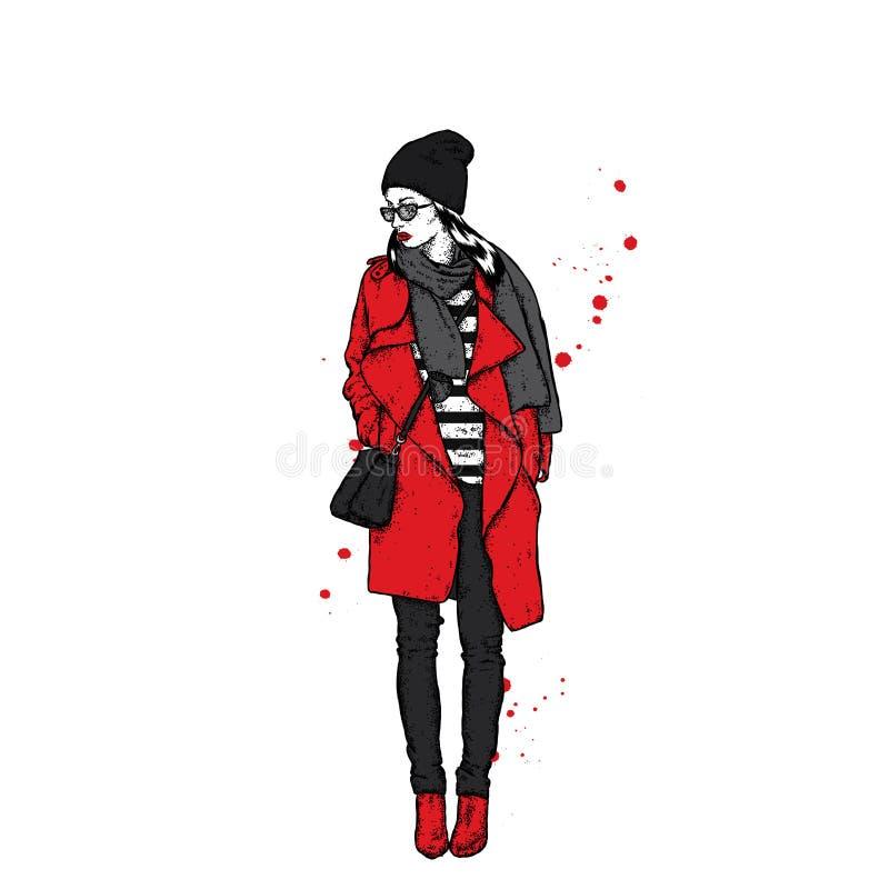 Piękna dziewczyna w żakiecie z nakrętką i szalikiem Stylishly ubierająca kobieta Wektorowa mody ilustracja ilustracja wektor