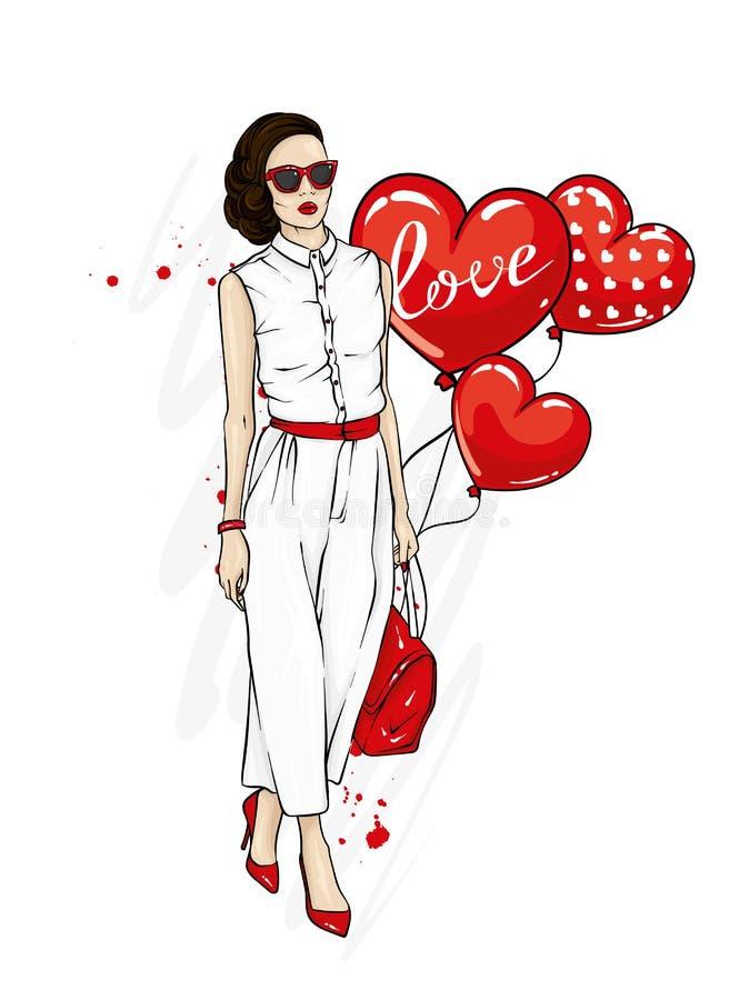 Piękna dziewczyna w eleganckim kostiumu z torbą i, buty, szkła Modni ubrania i akcesoria Moda & styl ilustracja wektor
