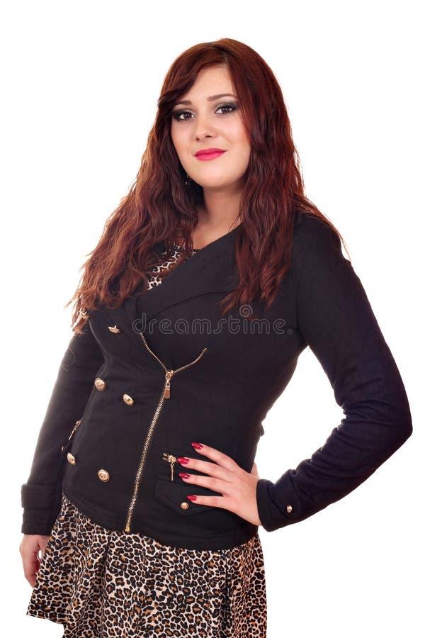 Piękna dziewczyna w kurtce i spódnicie obraz stock