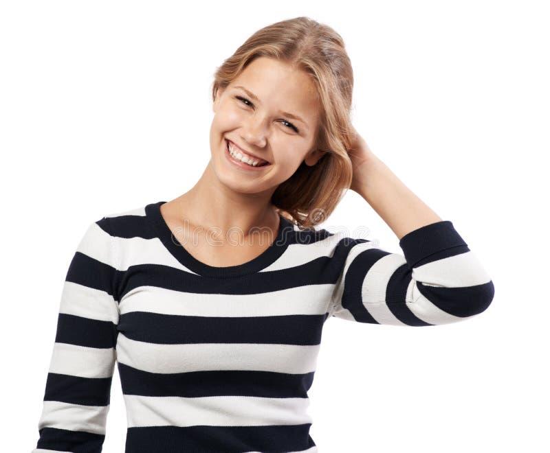 Piękna dziewczyna w pasiastego puloweru śliczny ono uśmiecha się obrazy royalty free