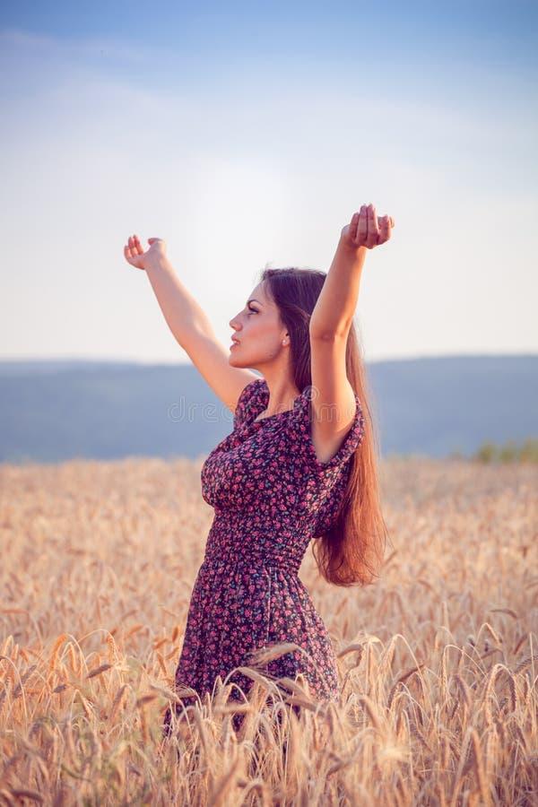 Piękna dziewczyna w pszenicznym polu przy zmierzchem zdjęcia stock