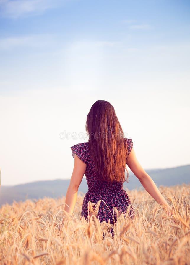 Piękna dziewczyna w pszenicznym polu przy zmierzchem obrazy royalty free