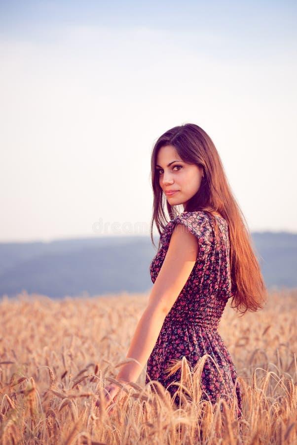Piękna dziewczyna w pszenicznym polu przy zmierzchem fotografia stock
