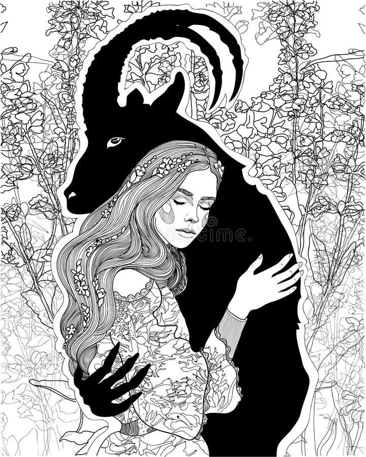 Piękna dziewczyna w rękach demon royalty ilustracja