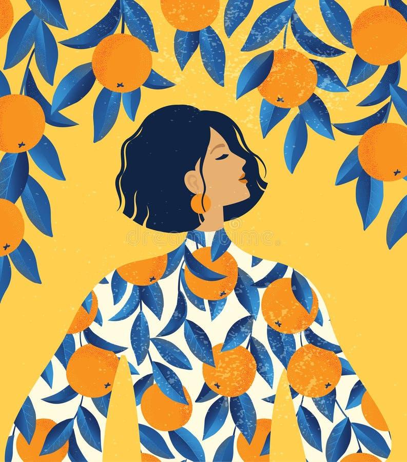Piękna dziewczyna w sukni z pomarańcze wzoru drukiem i pomarańczowego drzewa tłem ilustracji