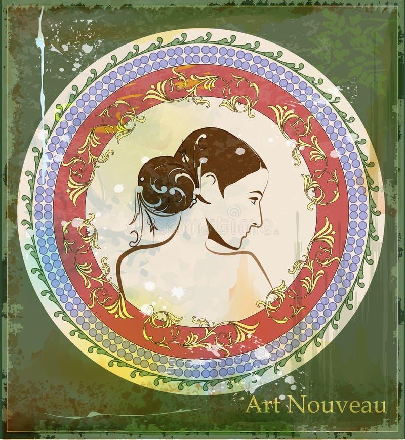 piękna dziewczyna w sztuki nouveau stylu ilustracja wektor