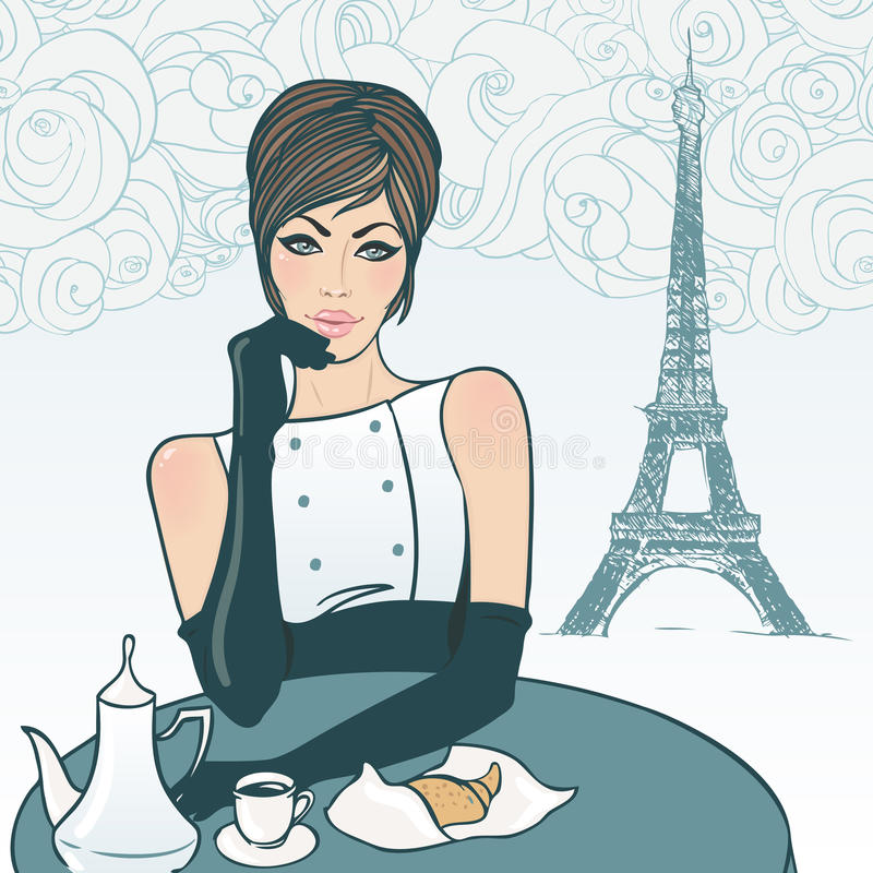 Piękna dziewczyna w ulicznej kawiarni w Paryż ilustracji
