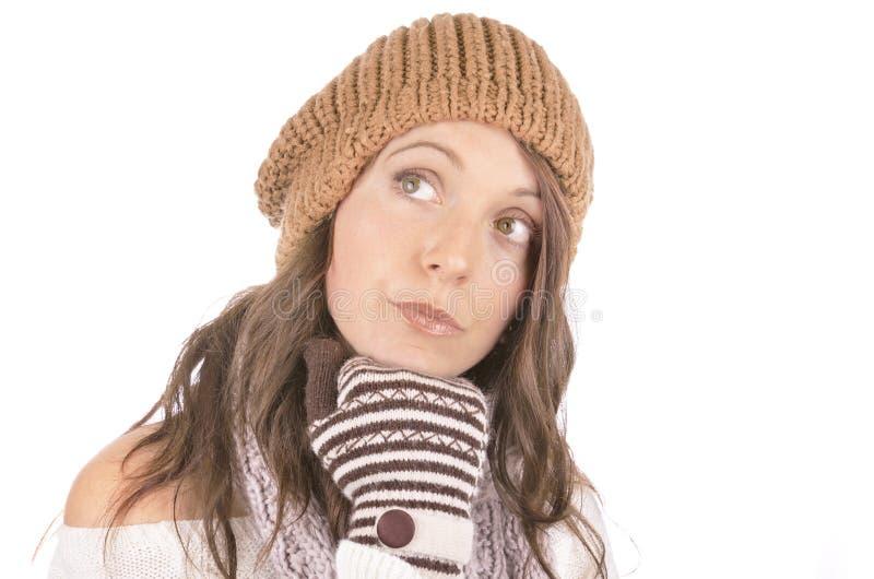 Piękna dziewczyna w zimie odziewa obrazy royalty free