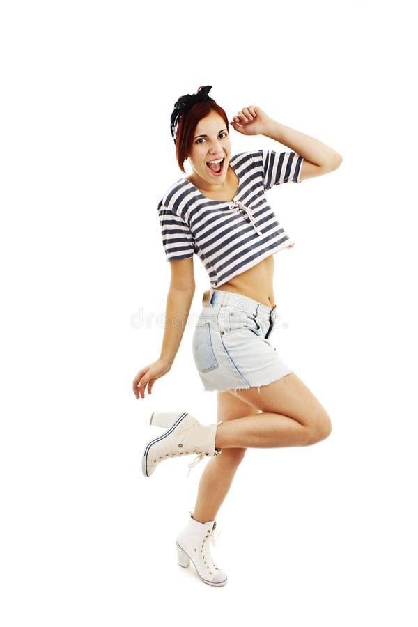 Piękna dziewczyna z ładnym uśmiechem w pinup stylu zdjęcia stock