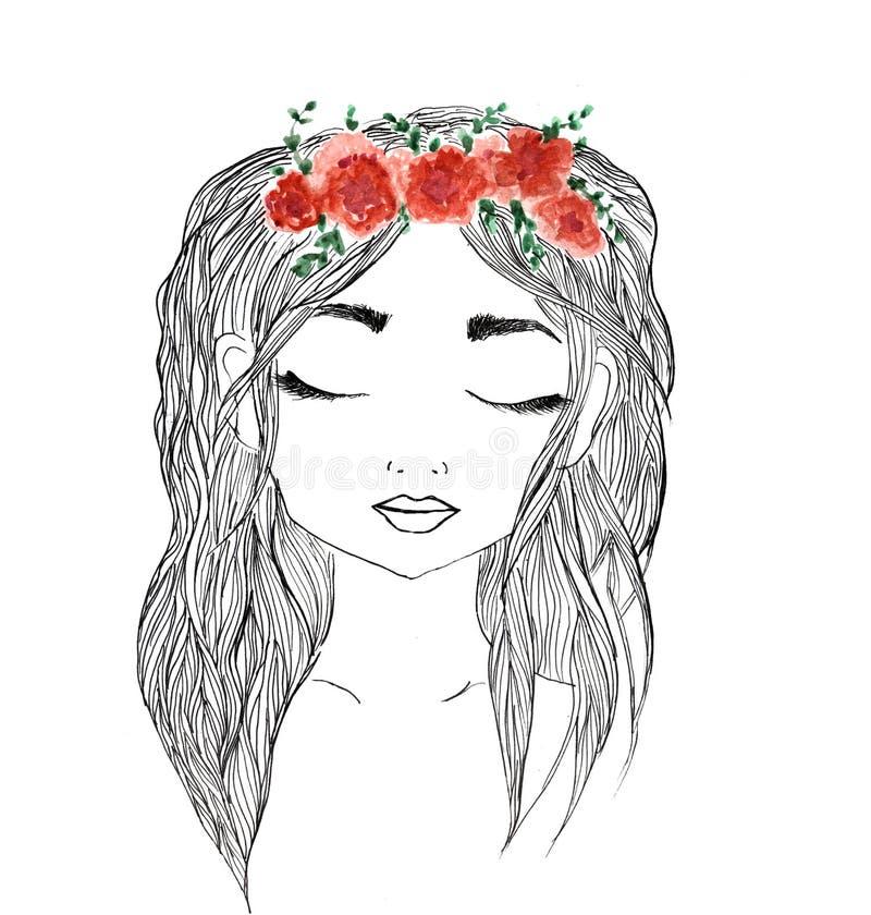 Piękna dziewczyna z czerwonym kwiatu wiankiem w długie włosy Ręka rysująca ilustracja, koszulka druk ilustracji
