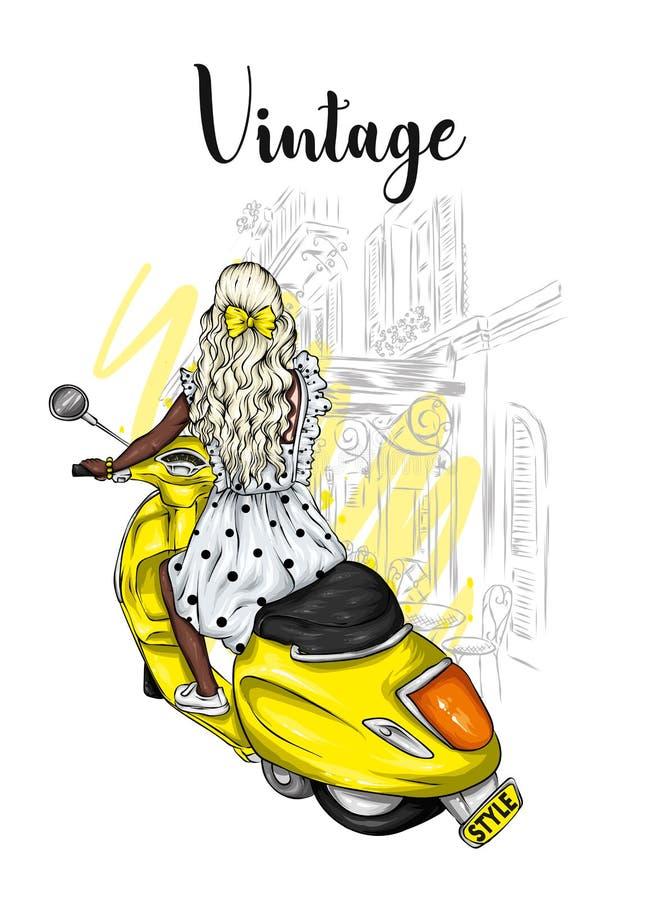 Piękna dziewczyna z długie włosy w lato sukni siedzi na rocznika moped Moda, styl i akcesoria, odzieżowy royalty ilustracja