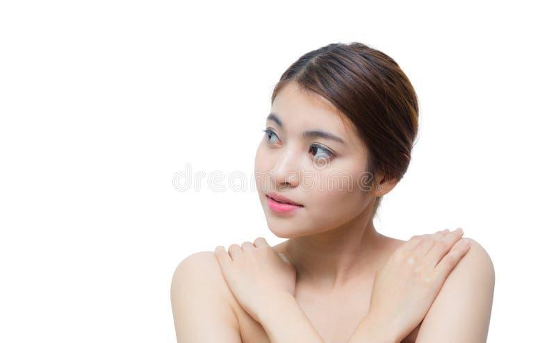 Piękna dziewczyna z makeup, młodości i skóry opieki pojęciem, obrazy royalty free