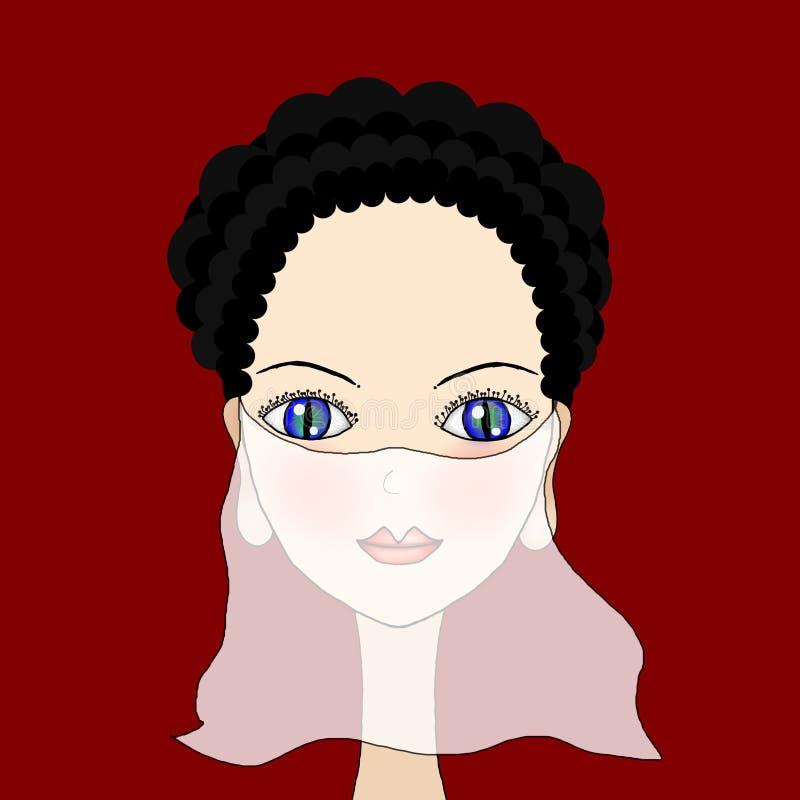 Piękna dziewczyna z przesłoną ilustracji
