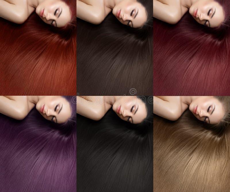 Piękna dziewczyna z różnymi włosianego barwidła kolorami obraz stock