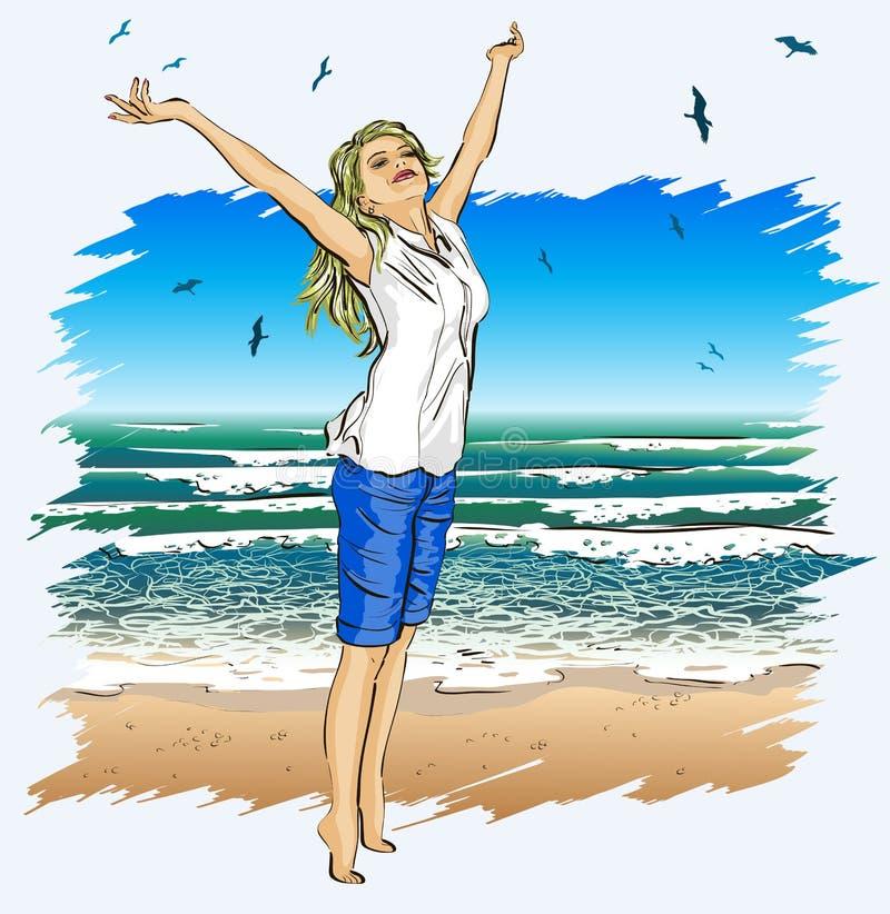 Piękna dziewczyna z rękami szeroko rozpościerać na tropica royalty ilustracja