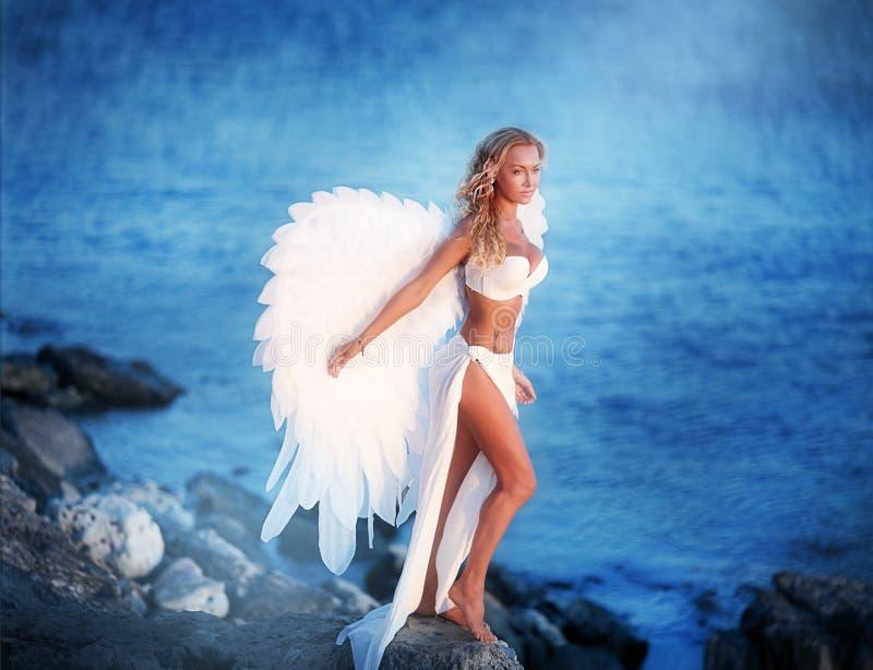 Piękna dziewczyna z skrzydłami fotografia royalty free