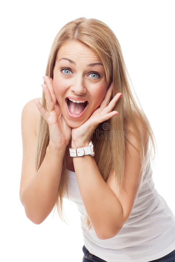 Piękna dziewczyna z wyrażeniem niespodzianka obrazy stock
