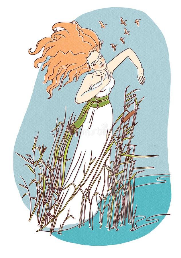 Piękna dziewczyna zostaje w wodnej ilustraci royalty ilustracja
