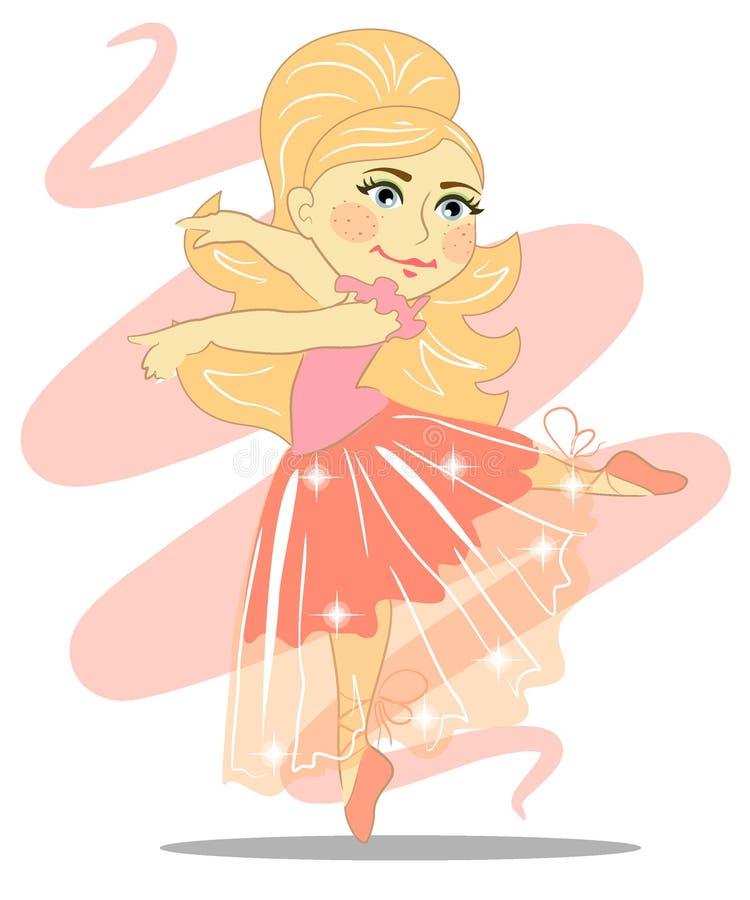Piękna dziewczyny balerina z przejrzystą spódnicą royalty ilustracja