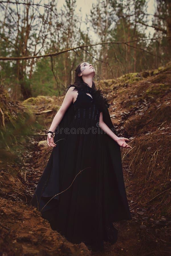 Piękna dziewczyny czarownica czaruje w drewnach zdjęcia stock
