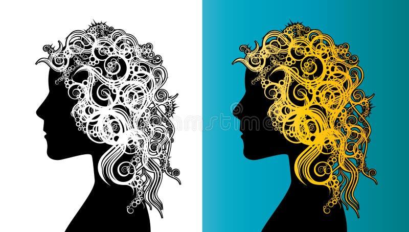 Piękna dziewczyny twarzy sylwetka z kędzierzawego włosy sztuki Nouveau stylem royalty ilustracja