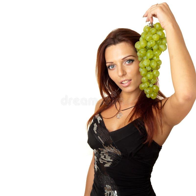 piękna dziewczyny winogron zieleń obraz royalty free
