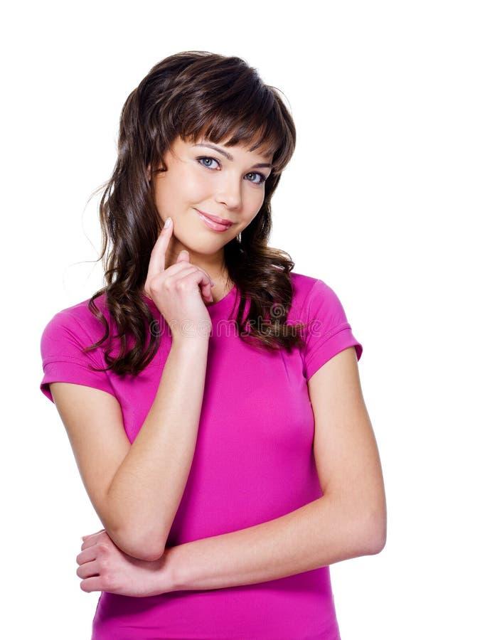 piękna ekspresyjna rozważna kobieta zdjęcie royalty free