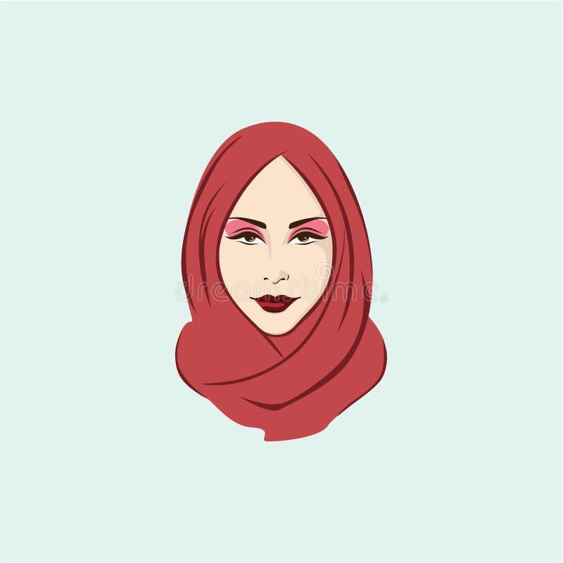 Piękna Elegancka Hijab dziewczyny ilustracja, Wektorowy projekt, ikona, znak, logo ilustracji