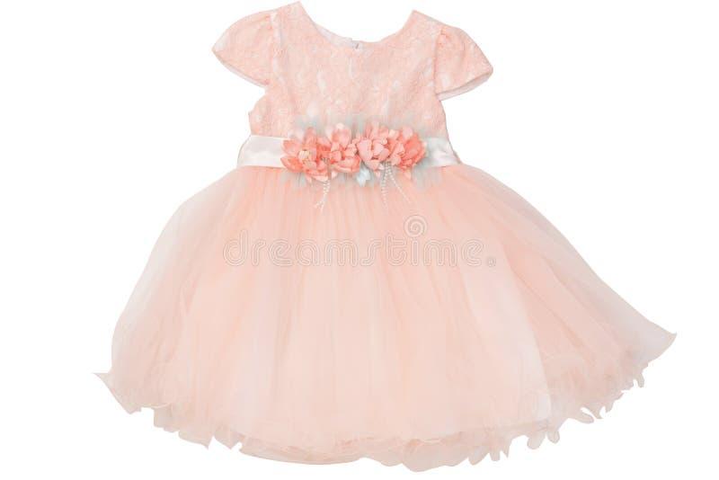 Piękna elegancka lato dziewczyny suknia pojedynczy białe tło zdjęcia stock