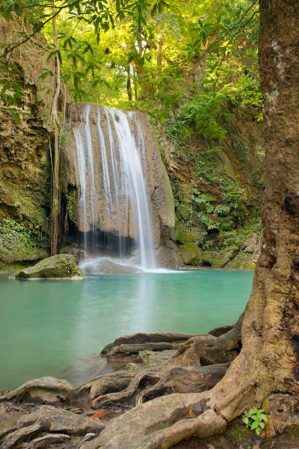 Piękna Erawan siklawa w Erawan parku narodowym zdjęcia stock