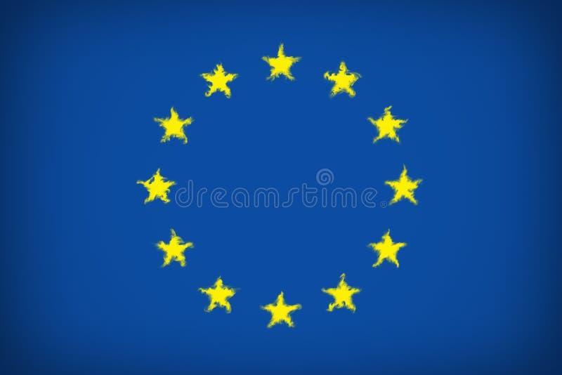Piękna flaga Europejskiego zjednoczenia zakończenie ilustracji