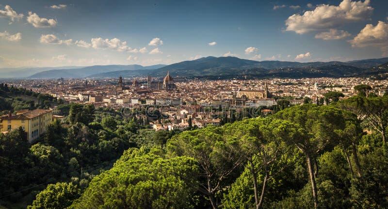 Piękna Florencja zmierzchu miasta linia horyzontu zdjęcie stock