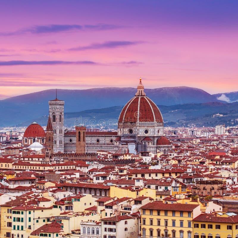 Piękna Florencja zmierzchu miasta linia horyzontu z Florencja Duomo Panor zdjęcie royalty free