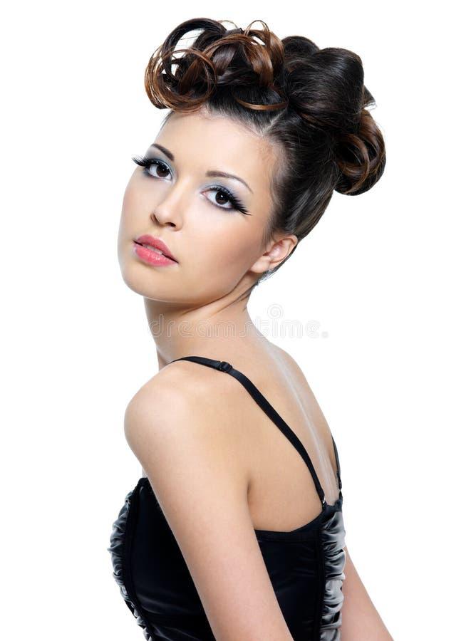 piękna fryzury stylu kobieta zdjęcie stock