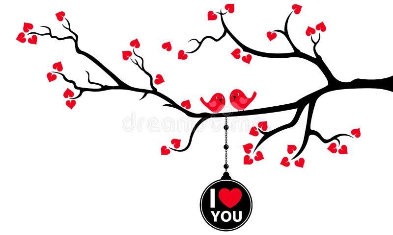 Piękna gałąź z obwieszenie miłości etykietką i miłość ptakami ilustracji