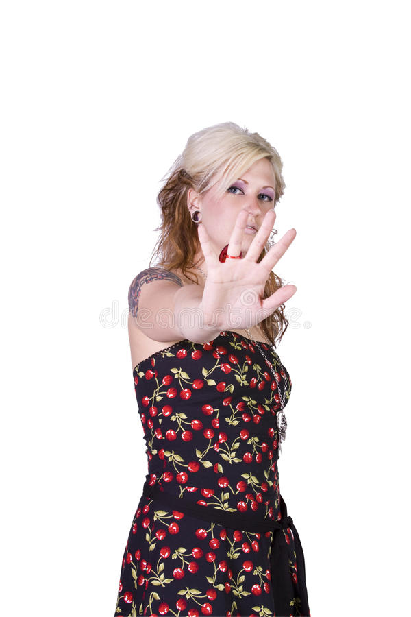 piękna gesta dziewczyny ręka robi fotografia stock