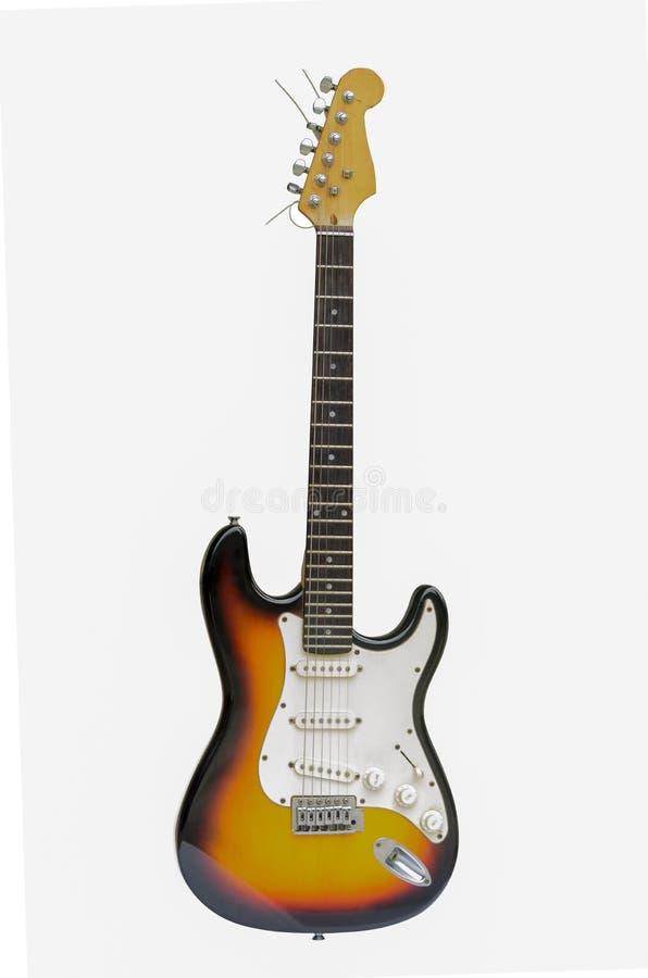 Piękna gitara elektryczna odizolowywająca na białym tle obraz stock